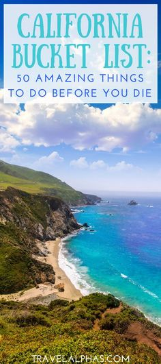 Traveling to California soon? Looking for some California travel inspiration? Here is the ultimate California Bucket List, complete with 50 unforgettable things to do before you die. From hot air ballooning over Napa Valley and whale watching in Monterrey, to watching the sun set in Laguna Beach and swimming with sea lions at La Jolla Cove, this California Bucket List has you covered!