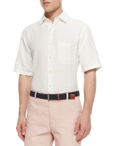 Solid Short-Sleeve Linen Shirt, White, Men's, Size: M - Peter Millar