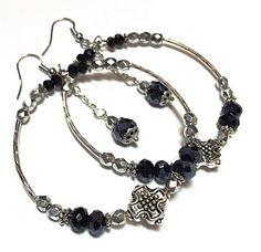Hoop Earrings  Silver and Black Earrings  by TheaDesignConcepts