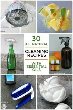 A huge list of the best all natural cleaning supplies using essential oils.