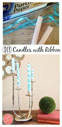 Custom Candles with Ribbon in 3 Steps | DIY Candles | Ribbon Crafts | Home Decor Ideas | Easy DIY Home Decor Ideas | Candles Crafts via @https://www.pinterest.com/dazzlefrazzled/