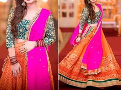 Multicolor Embroidered Chiffon Bridal Dress For more details and real pictures visit: PakStyle. Red Chiffon, Chiffon Maxi Dress, Pakistani Maxi Dresses, Pink Colour Dress, Luxury Clothing Brands, Mehndi Dress, Bridal Dresses Online, Dress Brands, Pink Things