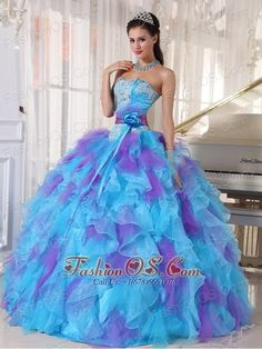 Baby Blue and Purple Quinceanera Dress Strapless Organza Appliques Ball Gown- $170.89