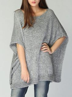 Hand knitted Poncho/ capelet grey eco cotton poncho por MaxMelody – Knitting world Knit Vest Pattern, Poncho Knitting Patterns, Knitted Poncho, Knit Patterns, Hand Knitting, Beginner Knitting, Poncho Cape, Capelet, Shawls And Wraps