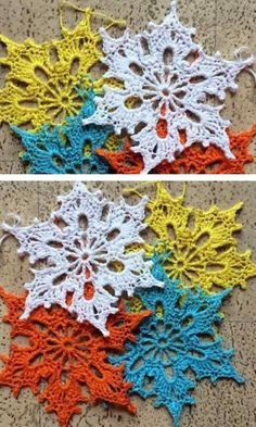 Snowflakes Crochet Decorations for Winter Free Crochet Snowflake Patterns, Crochet Stars, Christmas Crochet Patterns, Holiday Crochet, Crochet Snowflakes, Christmas Knitting, Thread Crochet, Crochet Crafts, Crochet Projects