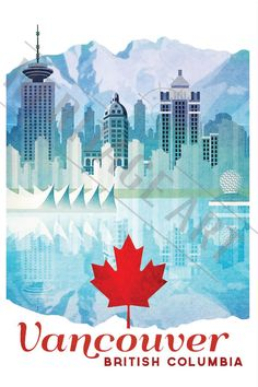 Vancouver British Columbia- Vintage Travel Poster by HeritageArtPrints on Etsy… Vancouver Travel, Vancouver British Columbia, City Poster, Poster S, Posters Decor, Posters Canada, Tourism Poster, Kunst Poster, Poster Design