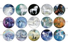 Unicorn Images 1inch Round 4x6 Digital by VAGraphicCreations