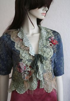 small artful jacket  with antique laces, hand embroidery, seed beading