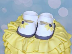 3D Edible Sunflower Baby Shoes Booties by SweetcreationsbyGigi, $12.95