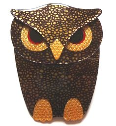 golden and black Lea Stein owl brooch - photographed by Gillian Horsup