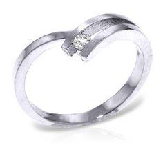 14K Solid White Gold Pygmalion Diamond Ring - 4577-W