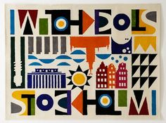 This exclusive hand tufted carpet in wool is designed by Maria Dahlgren and has an art deco inspired pattern depicting Stockholm buildings and surroundings. Love Design, Design Show, Nordic Chic, Scandinavian Interior Design, Scandinavian Style, Floor Art, Textile Prints, Textiles, Graphic Design Typography