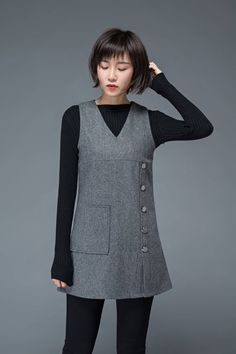 Simple Dresses, Nice Dresses, Spring Outfits, Girl Outfits, Dinner Gowns, Look Blazer, Wool Dress, Handmade Clothes, Capsule Wardrobe