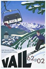 Old school skier is juxtaposed against Vail's famous Vista Bahn high speed chair lift to commemorate 40 years of great skiing and mountain living. Vintage Ski Posters, Cool Posters, Ski Lodge Decor, Vail Colorado, Winter Sports, Vintage Advertisements, Illustration, Skiing, Images