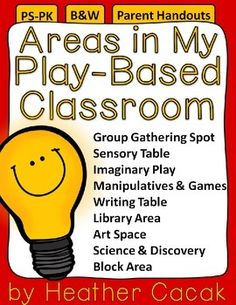 Areas in My Play-Based Classroom Family Engagement Handout