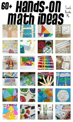 """60 Elementary Hands-On Math Teaching Ideas. """"Hands-on learning is incredibly important for kids. There are a million reasons why! Today I am highlighting more than 60 elementary hands-on math teaching ideas that I have featured over the years on my site. Math For Kids, Fun Math, Math Games, Math Activities, Math Enrichment, Math Classroom, Kindergarten Math, Teaching Math, Kinesthetic Learning"""