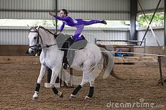 Horse vaulting KZN Natal champs held at indoor arena at Langleys Stables Summerveld. Competitors male and female young woman and mature teenagers. Trick Riding, Indoor Arena, Equestrian Girls, Aerial Silks, Vaulting, Graphic Design Art, Horse Riding, Stables, Pretty Pictures