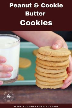 These Peanut and Cookie Butter Cookies are made with peanut butter and have a hint of mild gingerbread flavor from the cookie butter. They are quick and easy and made with simple pantry ingredients. Homemade Peanut Butter Cookies, Speculoos Cookie Butter, Peanut Cookies, Best Peanut Butter, Vegetarian Cookies, Healthy Cookie Recipes, Healthy Dessert Recipes, Just Desserts, Delicious Desserts