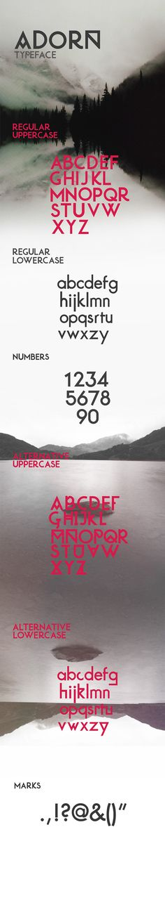 Adorn typeface is a sans serif typeface with alternative upper and lowercase