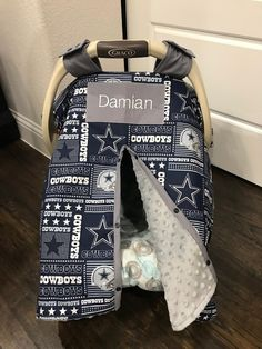 Excited to share this item from my #etsy shop: Baby Car Seat Covers - Navy and Gray Dallas Cowboys with Gray Minky - Team Footbal - Baby Girl or Boy - Shower Gift