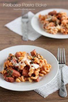 Kielbasa Pasta Bake - smoked sausage and ribbons of spinach tossed in a mozzarella marinara sauce. | DessertNowDinnerLater.com #pasta #casserole #sausage #dinner