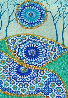 "ACEO Original ""Blue Harmony Patchwork Fields"" Collage Painting, By Hélène Howse  #Miniature"
