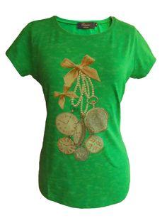 CAMISETA manga corta estampada, tejido estampado efecto lavado, estampado relojes, color Verde