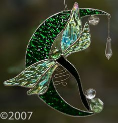 Stained Glass Dragonfly on the Moon by FunkyWindowGlass on Etsy, $43.00