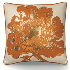 Grecian Peony Orange Pillow