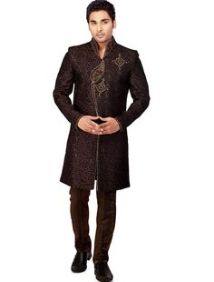 Coffee Brown and Antique Colour Brocade Sherwani Online Shopping: MCD1131