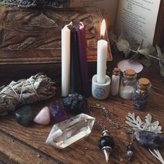Witch crystals witchcraft new age altar witchy the opaque Wiccan Altar, Wicca Witchcraft, Pentacle, Traditional Witchcraft, Season Of The Witch, Modern Witch, Witch Aesthetic, Coven, Candles
