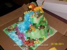 This is a Homemade Lion King Birthday Cake I made for my best friend's daughter's birthday. It was a 2 tier, 10 and 6 in round cakes. The tiers were st Latest Birthday Cake, Cool Birthday Cakes, 4th Birthday, Birthday Parties, Lion King Party, Lion King Birthday, Recipe Cars, Lion King Cakes, Round Cakes