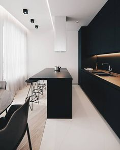The 50 BEST BLACK KITCHENS - kitchen trends you need to see. The 50 BEST BLACK KITCHENS - kitchen trends you need to see. Today, we are going to share with you the modern bar stools your Christmas home decor deserves! Home Interior, Modern Interior Design, Interior Design Inspiration, Kitchen Interior, Room Inspiration, Interior Shop, Apartment Interior, Küchen Design, Design Ideas