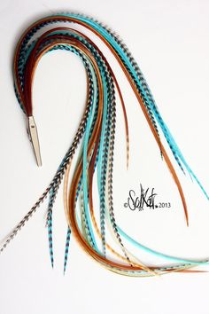 Custom Long Hippie Hair Feather Clip Accessories Turquoise Blue Ginger Grizzly Handmade Bohemian Accessory Feather Extensions Clips Long