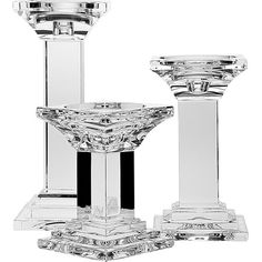 Add a lovely touch to your living room mantel or display case with this chic crystal candleholder set, showcasing a classic turned design for elegant appe...