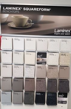 Laminex Squareform colour palette. Laminate benchtop colours.