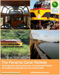 The Panama Railway was the first transcontinental railroad in the Americas. Today the comfortable carriages offer you a unique way to see the Panama Canal Watershed and Gatun Lake as you travel from Atlantic to Pacific in less than one hour.  www.ecocircuitos.com