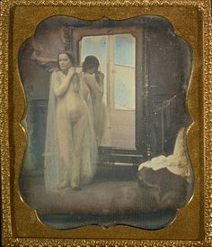 Unknown /   Female Nude at Mirror   French, 1850 - 1852  Hand-colored daguerreotype