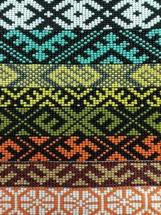 Loom bead. Etno. Latvian. Loom Bracelet Patterns, Hama Beads Patterns, Seed Bead Patterns, Bead Loom Bracelets, Woven Bracelets, Peyote Patterns, Beading Patterns, Tablet Weaving, Loom Weaving