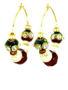 Checkout our #arrascreations product Hoop Style Indian Traditional Earring - Gold Tone - Red Color / AZINHP001-GRD. Buy now at http://www.arrascreations.com/hoop-style-indian-traditional-earring-gold-tone-red-color-azinhp001-grd.html