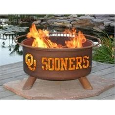 University of Oklahoma Sooners OU Portable Steel Fire Pit Grill