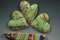 Beautiful!! Ron Lehocky's polymer hearts for the KIDS project (from donated scrap)