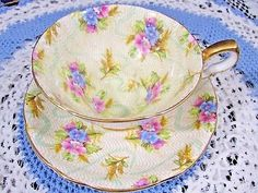 ROYAL STAFFORD ELIZABETH FLORAL CHINTZ WIDE MOUTH TEA CUP AND SAUCER