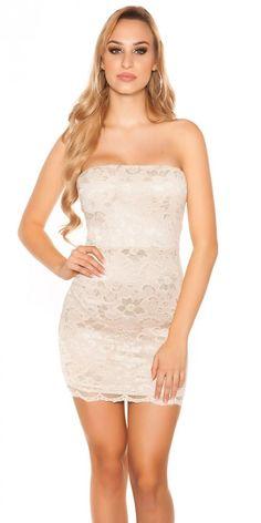CSODASZÉP CSIPKÉS UJJATLAN BÉZS SZÍNŰ KOKTÉL RUHA Strapless Dress Formal, Formal Dresses, Spandex, Sexy, Fashion, Dresses For Formal, Moda, Formal Gowns, Fashion Styles