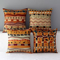 Set+of+4+Africa+Style+Patterned+Cotton/Linen+Decorative+Pillow+Covers+–+USD+$+31.19
