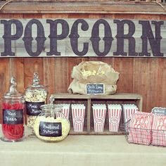 My Popcorn Bar from last nights Outdoor Movie night Party;)