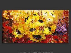 """Field of Giant Sunflowers"" - Original Flower Paintings by Lena Karpinsky…"