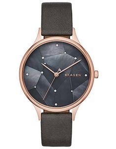 Star like accents shine against the genuine black mother of pearl dial accented by a rose gold-tone case. Rose gold-tone stainless steel case Black mother of pe