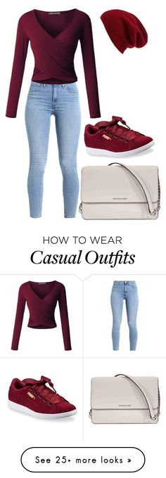 """""""casual wear"""" on Polyvore featuring LE3NO, Puma, Michael Kors and Halogen"""