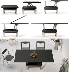 How about this coffee table that becomes a dining table when needed? Love this design!